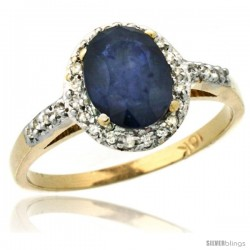 10k Yellow Gold Diamond Blue Sapphire Ring Oval Stone 8x6 mm 1.17 ct 3/8 in wide