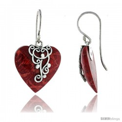 "Sterling Silver Heart Natural Red Coral Earrings 13/16"" (21 mm)"