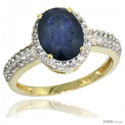 10k Yellow Gold Diamond Blue Sapphire Ring Oval Stone 9x7 mm 1.76 ct 1/2 in wide