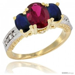 10K Yellow Gold Ladies Oval Natural Ruby 3-Stone Ring with Blue Sapphire Sides Diamond Accent