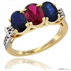 10K Yellow Gold Natural Ruby & Blue Sapphire Sides Ring 3-Stone Oval 7x5 mm Diamond Accent