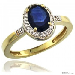 10k Yellow Gold Diamond Blue Sapphire Ring 1 ct 7x5 Stone 1/2 in wide