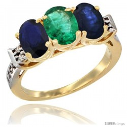 10K Yellow Gold Natural Emerald & Blue Sapphire Sides Ring 3-Stone Oval 7x5 mm Diamond Accent