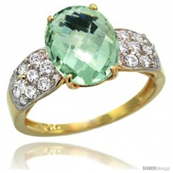 14k Gold Natural Green Amethyst Ring 10x8 mm Oval Shape Diamond Accent, 3/8inch wide