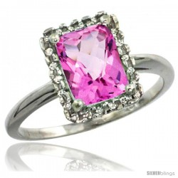 10k White Gold Diamond Pink Topaz Ring 1.6 ct Emerald Shape 8x6 mm, 1/2 in wide