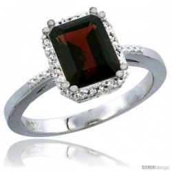 14k White Gold Ladies Natural Garnet Ring Emerald-shape 8x6 Stone Diamond Accent