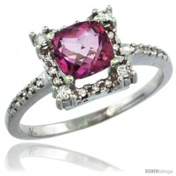 10k White Gold Diamond Halo Pink Topaz Ring 1.2 ct Checkerboard Cut Cushion 6 mm, 11/32 in wide