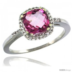 10k White Gold Diamond Pink Topaz Ring 1.5 ct Checkerboard Cut Cushion Shape 7 mm, 3/8 in wide