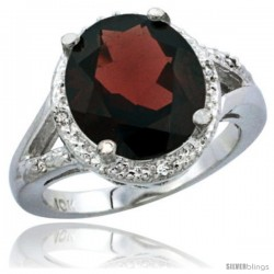14k White Gold Ladies Natural Garnet Ring oval 12x10 Stone Diamond Accent