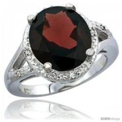 14k White Gold Ladies Natural Garnet Ring oval 12x10 Stone Diamond Accent