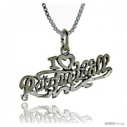 Sterling Silver I Love Racquetball Talking Pendant, 1 in wide