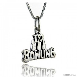 Sterling Silver Bowling Talking Pendant, 1 in wide