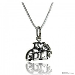 Sterling Silver I Love Golf Talking Pendant, 1 in wide -Style Pa678