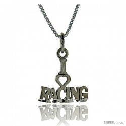 Sterling Silver I Love Racing 1 in wide Talking Pendant.