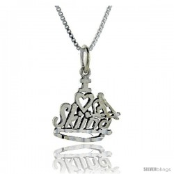 Sterling Silver I Love Skiing 1 in wide Talking Pendant.
