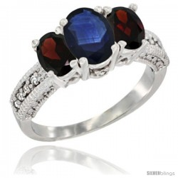 14k White Gold Ladies Oval Natural Blue Sapphire 3-Stone Ring with Garnet Sides Diamond Accent