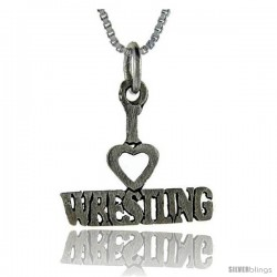 Sterling Silver I Love Wrestling 1 in wide Talking Pendant.