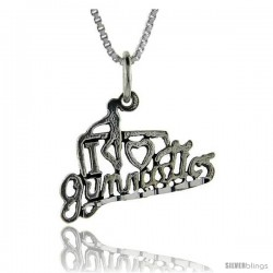 Sterling Silver I Love Gymnastics 1 in wide Talking Pendant.
