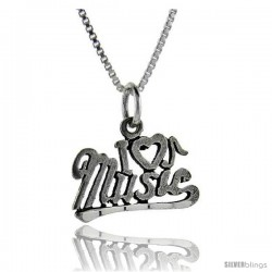 Sterling Silver I Love Music 1 in wide Talking Pendant.