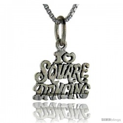 Sterling Silver I Love Square Dancing Talking Pendant, 1 in wide