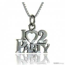 Sterling Silver I Love 2 Party Talking Pendant, 1 in wide