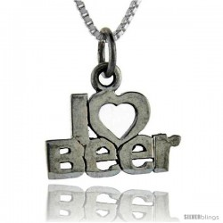 Sterling Silver I Love Beer Talking Pendant, 1 in wide -Style Pa708