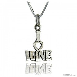 Sterling Silver I Love Wine Talking Pendant, 1 in wide