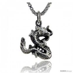 Sterling Silver Snake Pendant, 5/8 in tall