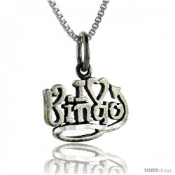 Sterling Silver I Love Bingo Talking Pendant, 1 in wide