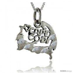 Sterling Silver I Love Cape Cod Talking Pendant, 1 in wide