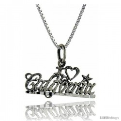 Sterling Silver I Love California Talking Pendant, 1 in wide