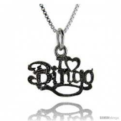 Sterling Silver I Love Bingo Talking Pendant, 1 in wide -Style Pa719