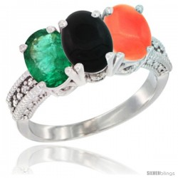 10K White Gold Natural Emerald, Black Onyx & Coral Ring 3-Stone Oval 7x5 mm Diamond Accent