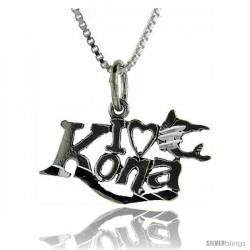 Sterling Silver I Love Kona Talking Pendant, 1 in wide