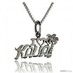 Sterling Silver I Love Kauai Talking Pendant, 1 in wide