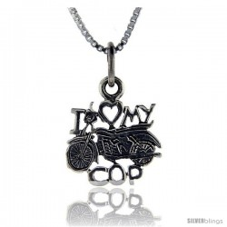 Sterling Silver I Love My Motorcycle Cop Talking Pendant, 1 in wide
