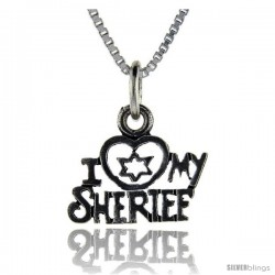 Sterling Silver I Love My Sheriff Talking Pendant, 1 in wide