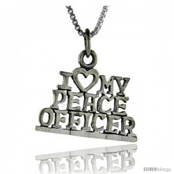 Sterling Silver I Love My Peace Officer Talking Pendant, 1 in wide