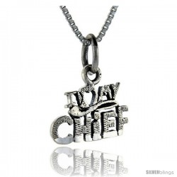 Sterling Silver I Love My Chief Talking Pendant, 1 in wide