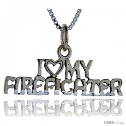 Sterling Silver I Love My Firefighter Talking Pendant, 1 in wide