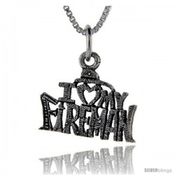 Sterling Silver I Love My Fireman Talking Pendant, 1 in wide