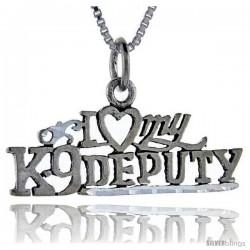 Sterling Silver I Love My K-9 Deputy Talking Pendant, 1 in wide