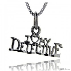 Sterling Silver I Love My Detective Talking Pendant, 1 in wide