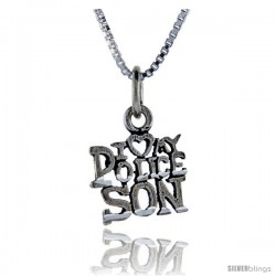 Sterling Silver I Love My Police Son Talking Pendant, 1 in wide