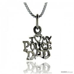 Sterling Silver Love My Police Dad Talking Pendant, 1 in wide