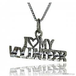 Sterling Silver I Love My Volunteer Talking Pendant, 1 in wide