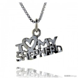 Sterling Silver I Love My Shepherd Talking Pendant, 1 in wide