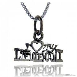 Sterling Silver I Love My Lieutenant Talking Pendant, 1 in wide