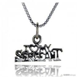 Sterling Silver I Love My Sergeant Talking Pendant, 1 in wide