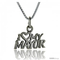 Sterling Silver I Love My Mayor Talking Pendant, 1 in wide